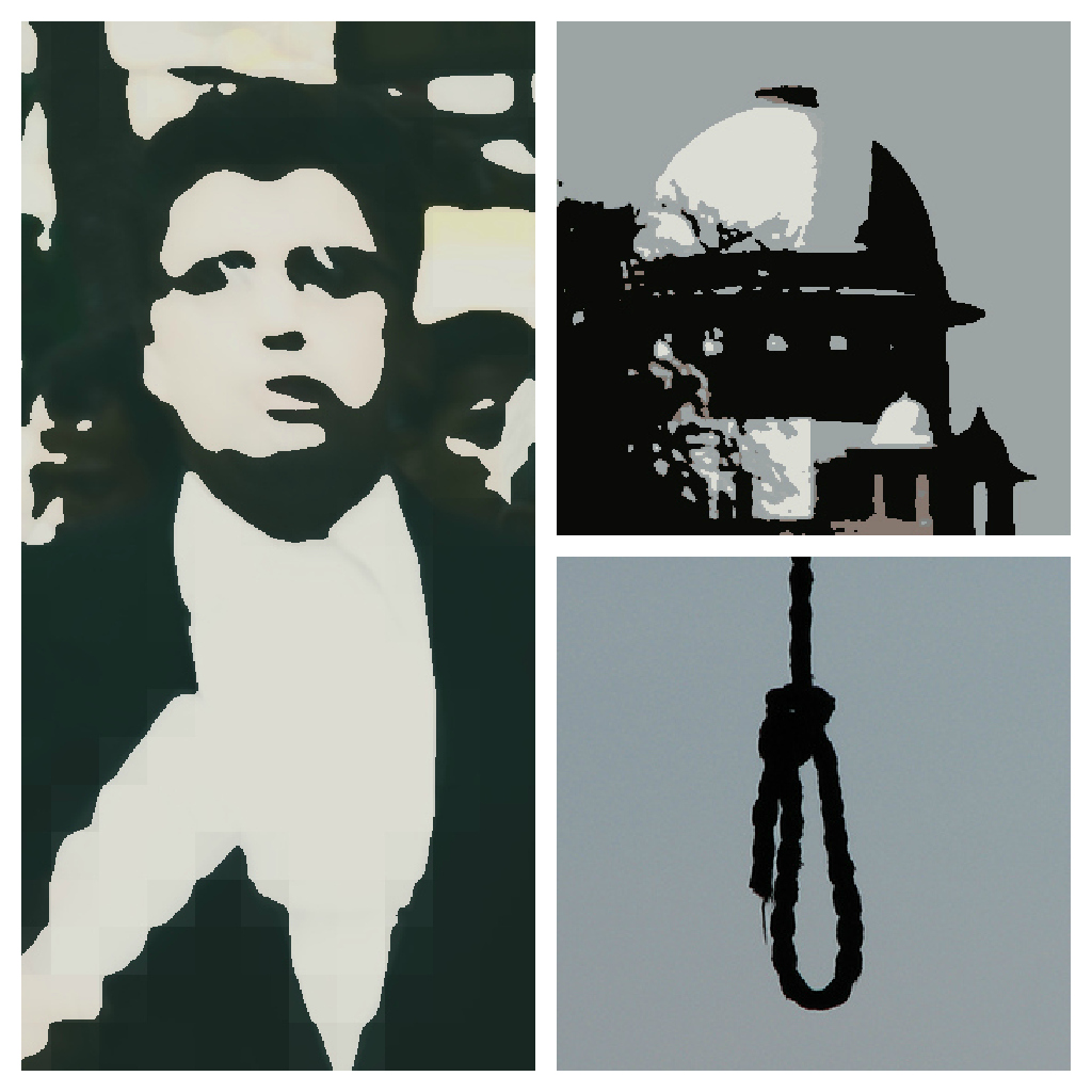 The image of Justice is from a photograph of the Norwich Union building in London, seen in mira66's photostream on Flickr. The image of the noose is from the Valkry Productions photostream on Flickr. Both the images have been published under a Creative Commons Attribution 2.0 Generic License.