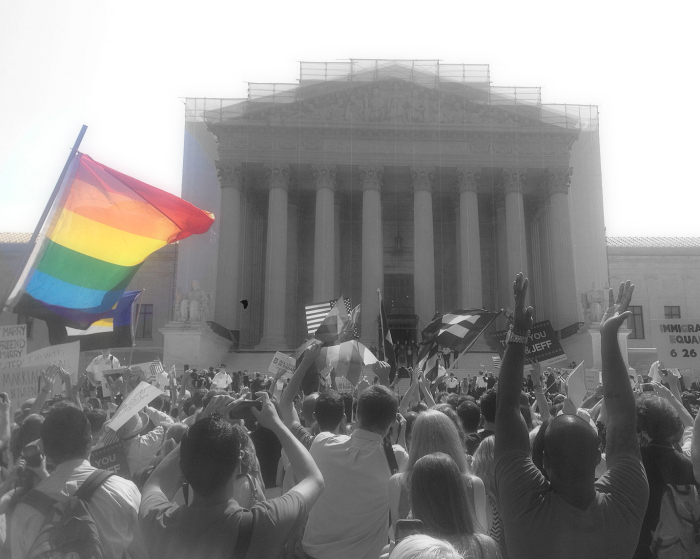 OutsideSCOTUS_DOMA_LGBTflag