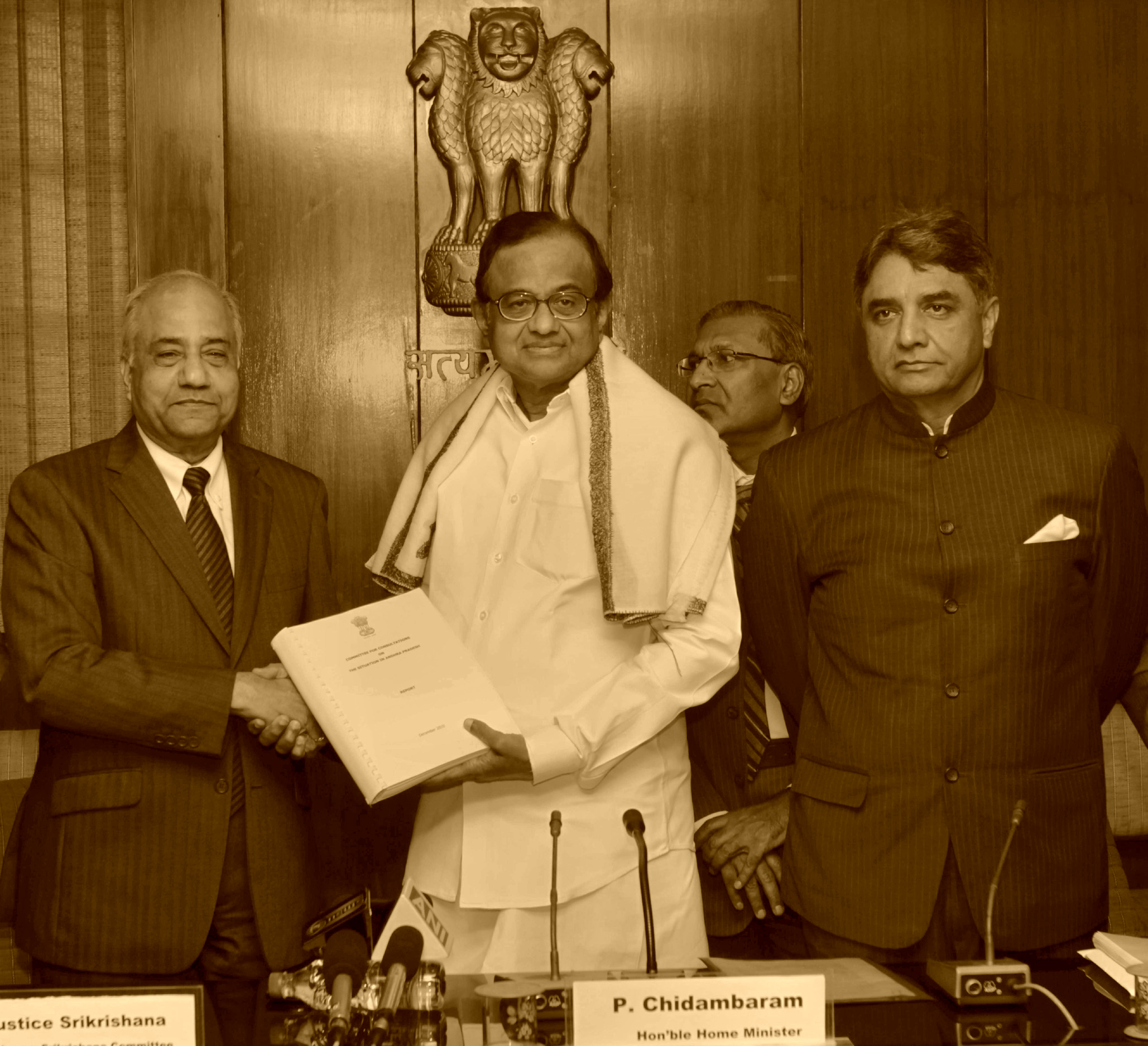 Justice (Retd) B.N. Srikrishna presented the Srikrishna Committee Report on Consultations with political parties and groups in Andhra Pradesh on Telangana issue to P. Chidambaram, who was the the Union Home Minister at that time, on December 30, 2010.