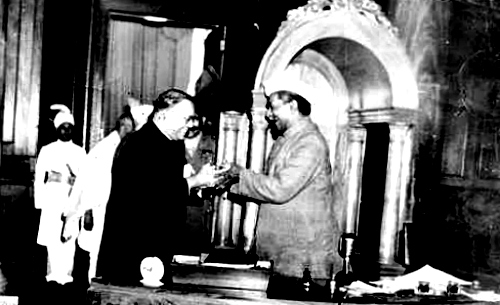 B.R. Ambedkar (left) with the first President of India, Rajendra Prasad.