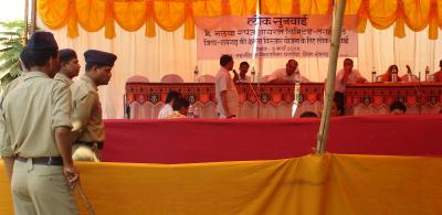 A public hearing underway for the Nalway sponge iron plant. Photo credit: Kanchi Kohli