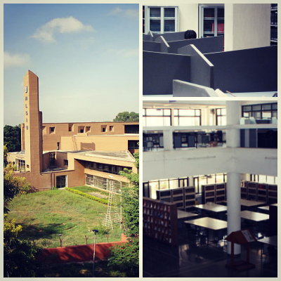 Clockwise from left - The libraries at NLSIU Bangalore, NLU Delhi, and NALSAR Hyderabad.