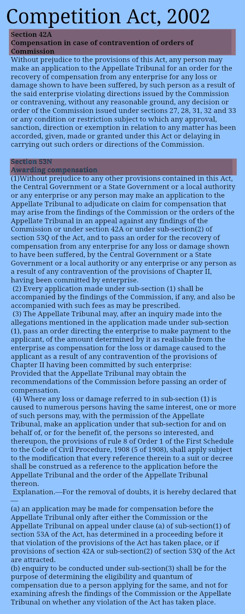 Section42ACompetitionActSection53NCompetitionAct _awardingcompensation