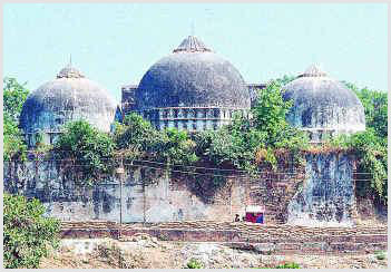 Rear view of the Babri mosque before it was destroyed in 1992. Photograph by Shaid Khan.