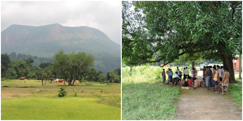 (Left) A hillock in Orissa where mining has been proposed and (right) a meeting, similar to the one described in the article, is in progress . Both photographs are by Kanchi Kohli.