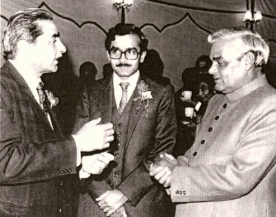 Shanti Bhushan (left) with Prashant Bhushan and Atal Behari Vajpayee in 1984. Photo courtesy: Kartik Seth, an advocate practising at the Supreme Court of India.
