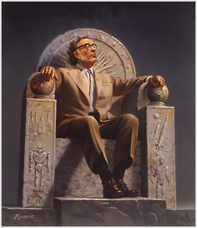 Isaac Asimov, painted on a throne with symbols of his life's work, by Rowena Morrill. Image above originally published on Wikipedia.