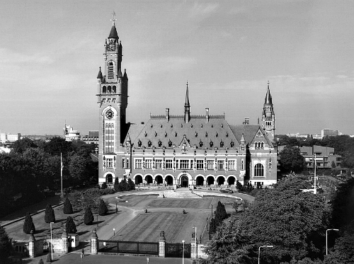 The Peace Palace at The Hague, home of the International Court of Justice. Image above is from Wikimedia Commons.