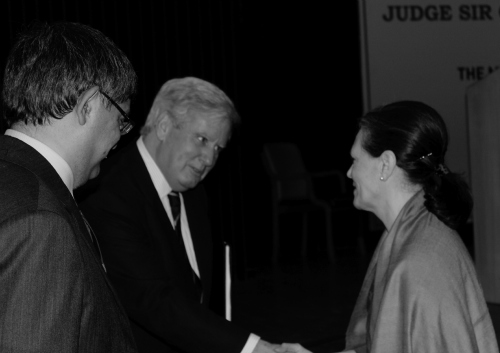 From left to right: Mr. Gaurab Banerji, Additional Solicitor General and son of Mr. Milon Kumar Banerji, Sir Christopher Greenwood, and Ms. Sonia Gandhi. Photograph by Aju John.