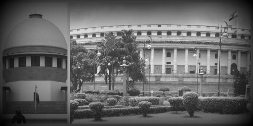 Neither the judiciary nor the legislature have shown any interest in amending India's grossly inadequate rape laws. Photograph on the left is by Venkit N.Y. Photograph on the right is from the website of the Parliament of India.