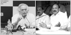 The Union Minister for Rural Development in the UPA government, Jairam Ramesh (left), and Union Minister for Urban Development in the NDA government, Venkaiah Naidu, addressing press conferences on the land acquisition law in September, 2013 and March, 2015.