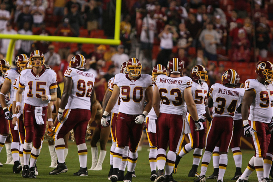What, us disrespectful? The Redskins line up. Image above is from the Wikimedia Commons.