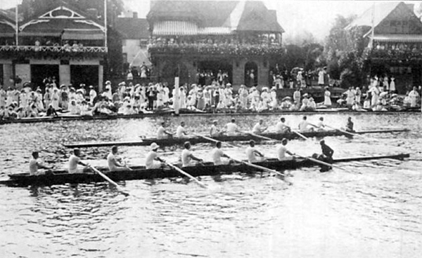 The rowing event at the 1908 London Olympics. Image above is from the Wikimedia Commons.