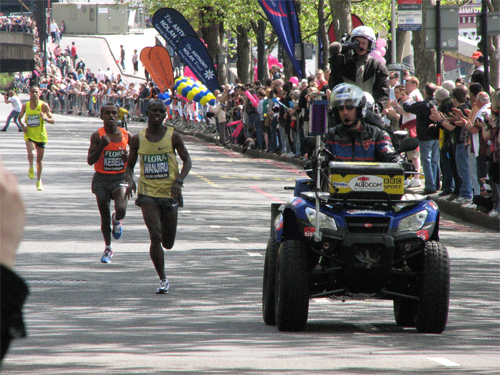 The top three runners at the London Marathon 2009. Image above is from SNappa 2006's photostream on Flickr.