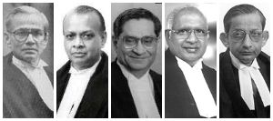 (From left to right) Chief Justice V.N. Khare and Justices Arijit Pasayat, S.N. Variava, K.G. Balakrishnan, and S.B Sinha constituted the bench in the Islamic Academy Case.