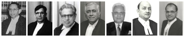 (From left to right) Chief Justice R.C. Lahoti and Justices Y.K. Sabharwal, C.S. Dharmadhikari, Tarun Chatterjee, Arun Kumar, G.P. Mathur, and R. Balasubramnian constituted the bench in the P.A. Inamdar case.