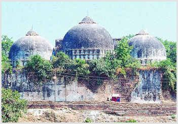 A view of the Babri Masjid prior to its destruction. Image above is taken from Wikimedia Commons.