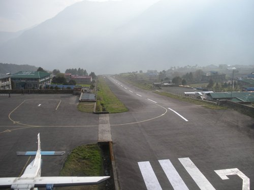 Lukla airport (above) is frequently rated among the world's most dangerous.