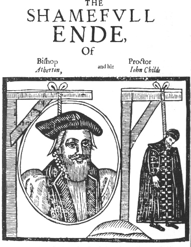 John Atherton, Bishop of Waterford and Lismore, was hanged for sodomy. The anonymous pamphlet (above) is from 1641. Public domain.