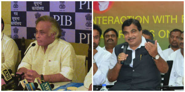(Left) The former Union Minister for Rural Development, Shri Jairam Ramesh addressing a press conference on Land Acquisition Bill, in Jaipur on September 15, 2013. (Right) The Union Minister for Road Transport & Highways and Shipping, Shri Nitin Gadkari addressing a Press Conference, during an Interaction with Farmer's Association on land acquisition, in Hyderabad on June 01, 2015. Both images from PIB.