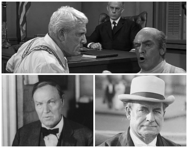Above, Spencer Tracy and Frederic March playing Mathew Harrison Brady, the prosecuting attorney and Henry Drummond, the defense attorney in a scene from Inherit The Wind (1960). Below, Clarence Darrow and William Jennings Bryan, the lawyers who came up against each other in the Scopes 'Monkey' Trial.