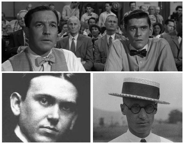 Above, Gene Kelly and Dick York playing E.K. Horseback and Bertram Cates in Inherit The Wind (1960). Below, H.L. Mencken the journalist and John T. Scopes the geologist (right), the real-life figures that these actors portrayed.